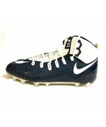 NIKE Force Savage Pro White Blue 17 Football Cleats Men's FREE SOCKS NEW - $33.28