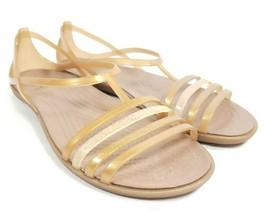 Crocs Isabella Sandals Women's Sz 9 Gold Mutli Color Jelly Straps (sb8ep) - $28.71
