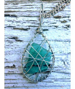 Star Twins necklace: Authentic Estonian sea glass, tear drop shape wirework - $34.00