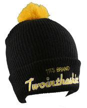 T.I.T.S. Brand Mens Black Yellow Sports Script Pom Beanie Skull Cap Winter Hat image 3