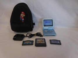 Nintendo Game Boy Advance SP Blue Handheld System AGS101 + 3 Games + Cor... - $93.02