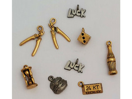 Various Charms, Gold and Silver, Set of 9