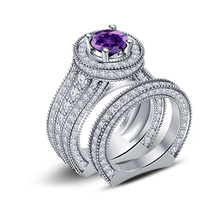 14k White Gold Plated 925 Silver Round Cut Amethyst Bridal Engagement Ring Set - $87.08