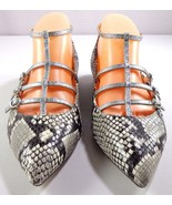 J Crew Women's Caged Flats in Snakeskin Printed Leather Size 7.5 Shoes F... - $115.66