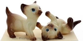Hagen-Renaker Miniature Cat Figurine Siamese Large Kitten on Back and Walking