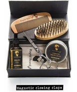 Mustache & Beard Brush Comb Balm Oil Scissors Styling Shaping & Growth G... - $29.69