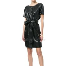 Short Sleeves T-shirt style leather dress