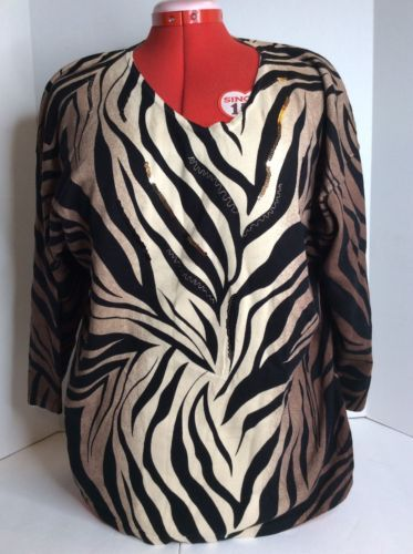 JM Collection Brown Black Beige Zebra Print Long Sleeve Top Blouse Cotton SZ XL