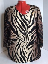 JM Collection Brown Black Beige Zebra Print Long Sleeve Top Blouse Cotto... - $18.52