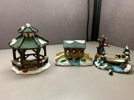 Lot of 3 Porcelain Winter Christmas Village Miniature Gazebo and Bridges - $24.74