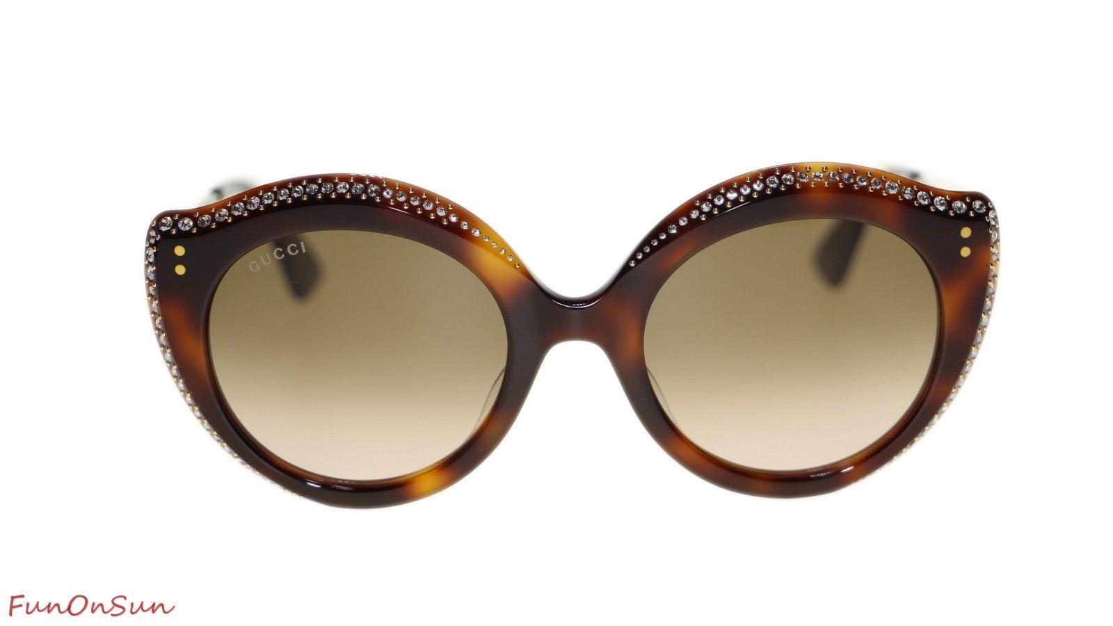 019f19a0bc Gucci Women Sunglasses GG0214S 003 Havana Brown Polarized Lens 52mm  Authentic