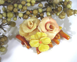 Vintage Celluloid Brooch, Flower Pin, Floral Pin, Pink Roses, Pansy, 193... - $17.00