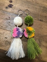 2 Pcs Wayuu Colorful Pom Pom Tassel Keychain (set #3) - $20.00