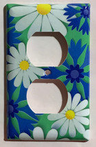 Blue White Flowers patterns Light Switch Outlet wall Cover Plate Home Decor image 2