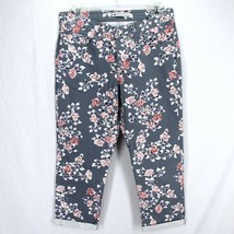 Lee Natural Fit Capri Pants Sz 6 Gray Pink Purple Floral Stretch Cotton Denim - $16.99