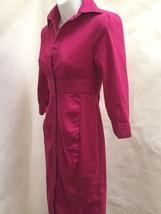 Express 0 Shirt Dress Magenta Sheath 3/4 Sleeve Mini Cotton Stretch image 2