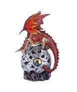 Elemental Magma Errol Dragon Perching On LED Gyrosphere Orb Night Light Figurine - $25.99