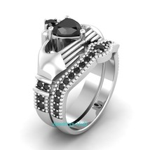 Certified 2.75Ct Black Diamond Heart Shape Engagement Ring Real 14K Whit... - £229.55 GBP