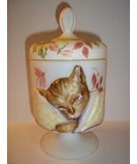 Fenton Glass Dragonfly Bling Chessie Railroad Gold Cat Box Dish Ltd Ed #... - $387.03