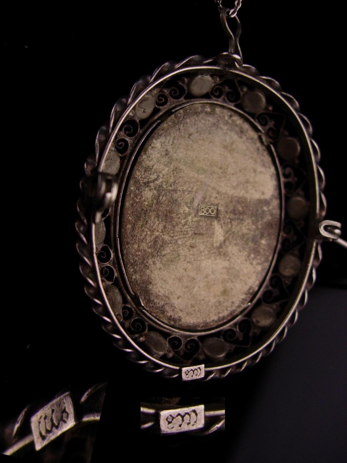 Antique Portrait necklace - 800 silver Miniature Framed renaissance painting bro