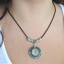 Leather necklace, coin necklace, statement leather necklace (245) - $19.99