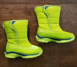 Lands End Snow Flurry Youth Girls Snow Boots Size 1 Yellow Neon Winter I... - $14.99