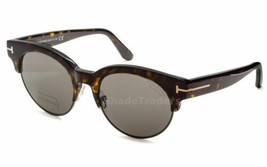 Tom Ford Henri Round Sunglasses Havana Torts Polarized Smoke Grey FT0598... - $148.49