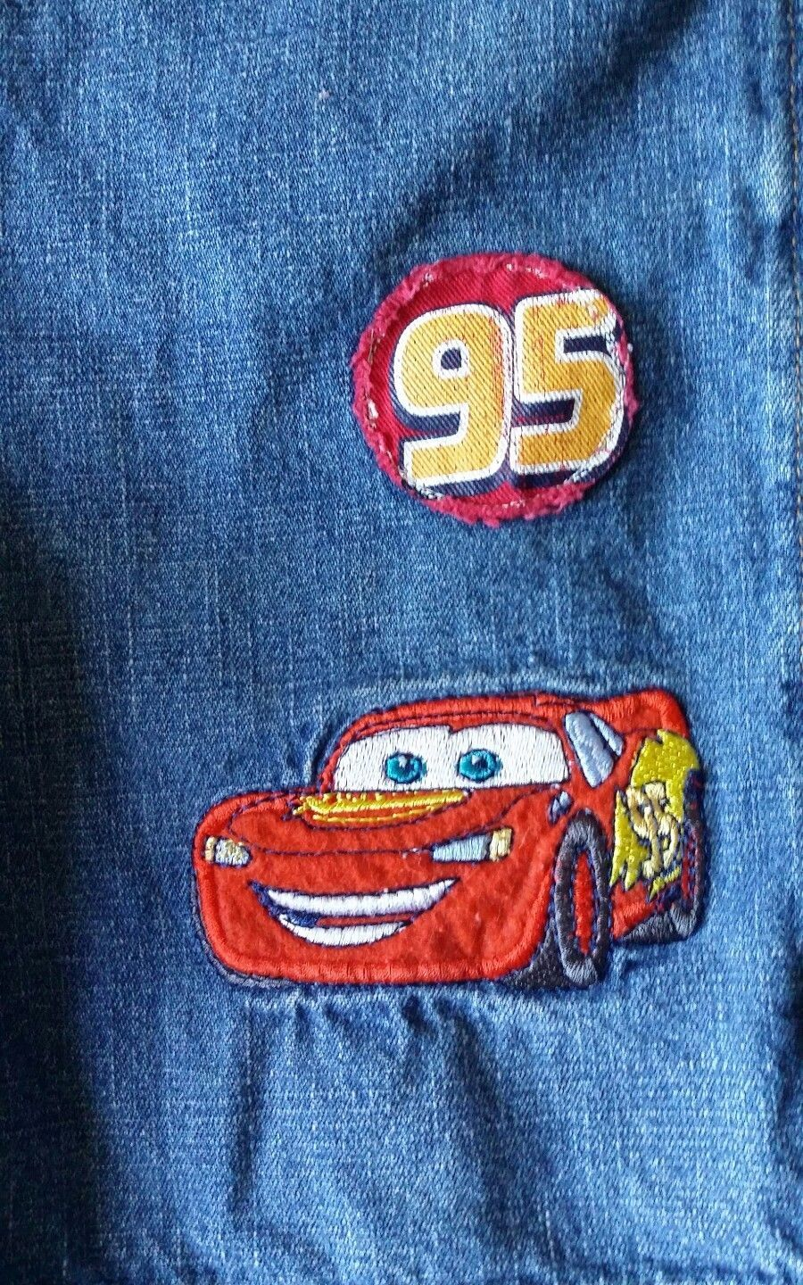 VTG Disney Pixar Cars 95 Lightening McQueen Denim Bibs Shorts 5T Overalls HTF image 3