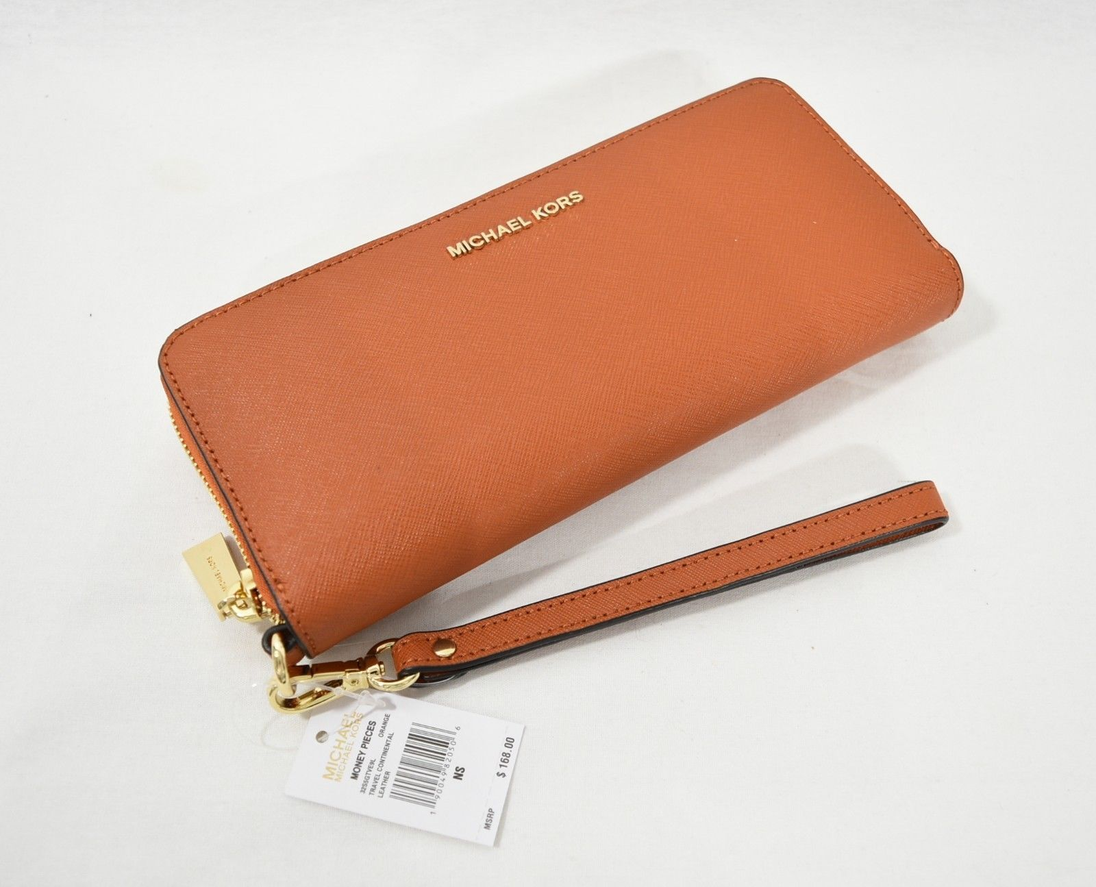 Primary image for NWT Michael Kors Money Pieces Continental Wallet/ Wristlet in Orange