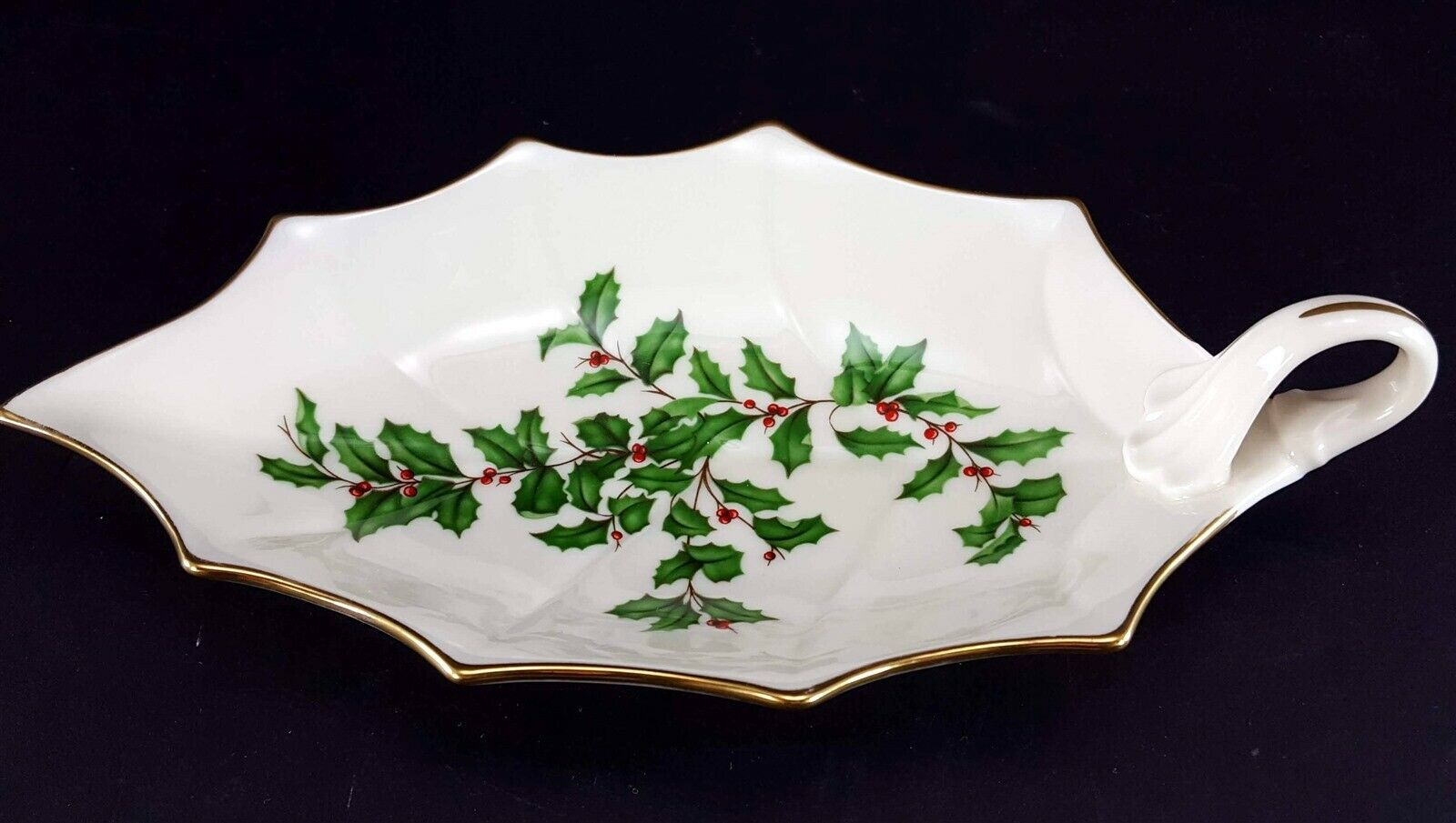 "LENOX China Holiday Dimension 10-1/8"" Leaf Dish Handled Dinnerware image 1"