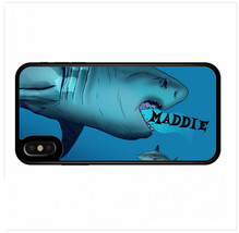PERSONALIZED RUBBER CASE FOR iPHONE XR XS MAX X 8 7 6 PLUS SHARK ATTACK ... - $13.98