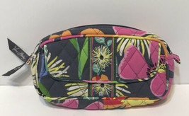 Vera Bradley Mirror Cosmetic Makeup Case Plastic Lined Pink Gray Yellow Floral - $17.55