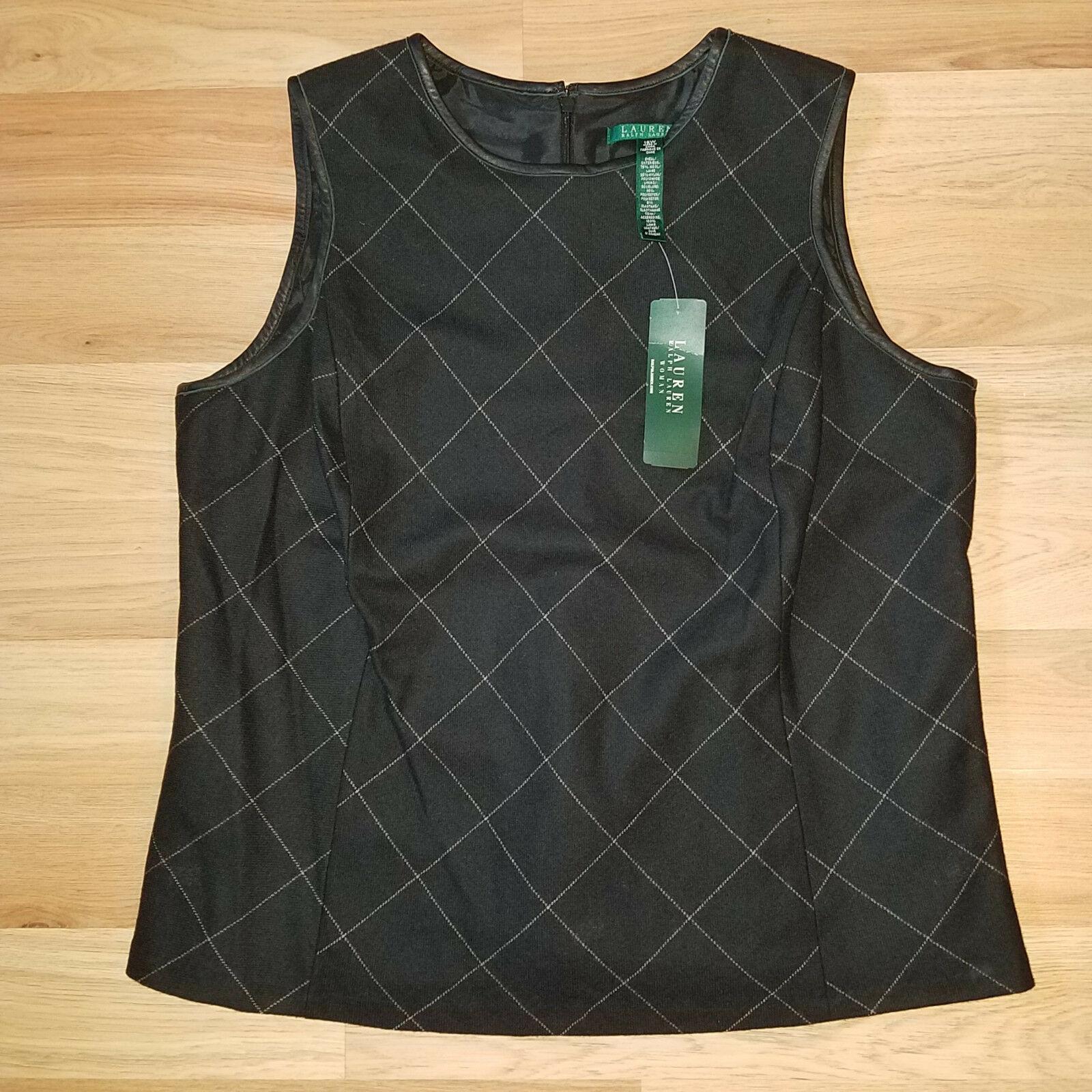 new RALPH LAUREN women sweater vest black 16W - MSRP $185