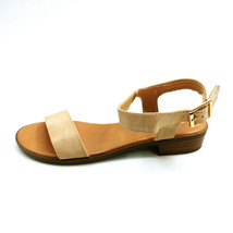 Top Moda Womans Chenille 2 Ankle Strap Sandal Beige Open Toe Cushion Sz ... - $17.80