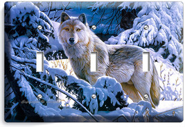 Wild Gray Wolf Winter Forest 3 Gang Light Switch Wall Plate Cover Room Art Decor - $19.99