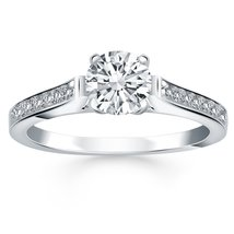 14k White Gold Pave Diamond Cathedral Engagement Ring - $2,362.50