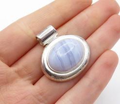 925 Sterling Silver - Vintage Cabochon Cut Blue Agate Slide Pendant - P11579 - £23.56 GBP