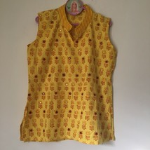 "Artsy Organic 100% COTTON Yellow Print TOP With mirrors. Chest: 33-34 "".... - $19.99"