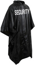 Security Poncho Black Waterproof Rain Hooded Vinyl Guard Officer Bouncer... - $8.39