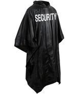 Security Poncho Black Waterproof Rain Hooded Vinyl Guard Officer Bouncer... - $8.39