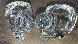 INDIANA GLASS VOTIVE POLAR BEAR FIGURES CRYSTAL PAIR - $25.99
