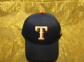MLB Texas Rangers blue one size adjustable hat White pop up T w red embroidery - $9.45