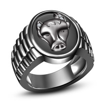14k Black Gold Plated 925 Silver Round Cut CZ Astrology Taurus Zodiac Sign Ring - $77.57
