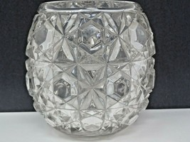 Vintage Knobbed Cut Glass Squat Wide Star Textured Vase - $15.79