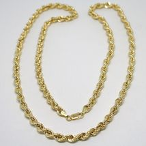 18K YELLOW GOLD CHAIN NECKLACE 5 MM BIG BRAID ROPE LINK 19.70 IN. MADE IN ITALY image 5