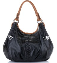 New Large Black and Tan Pebbled Italian Leather Hobo Handbag Shoulder Bag - $168.25