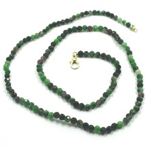 """18K YELLOW GOLD NECKLACE 24"""", FACETED GREEN ZOISITE AND RED RUBY DIAMETER 3.5mm image 1"""