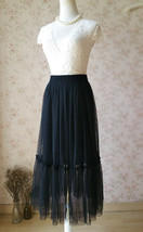 Black A-line 2 layer Tulle Bloom Pleated Mid-calf Fashion Tulle Skirt Any Size  image 4