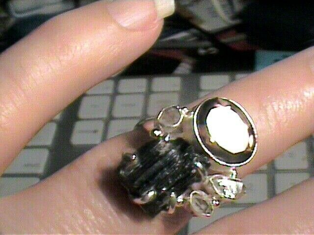 BLACK TOURMALINE herkimer diamond ROUGH NATURAL 925 Sterling Silver Ring 7 topa