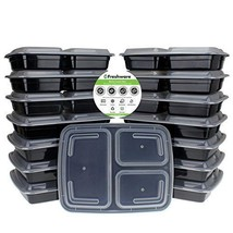 Pack Of 15 3 Compartment Meal Prep Containers with Lids Lunch Box for Tr... - €19,58 EUR